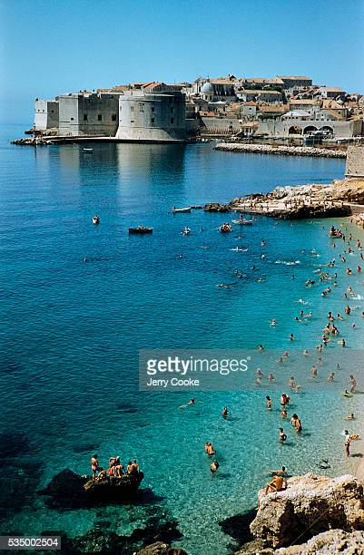 Beachgoers in Dubrovnik