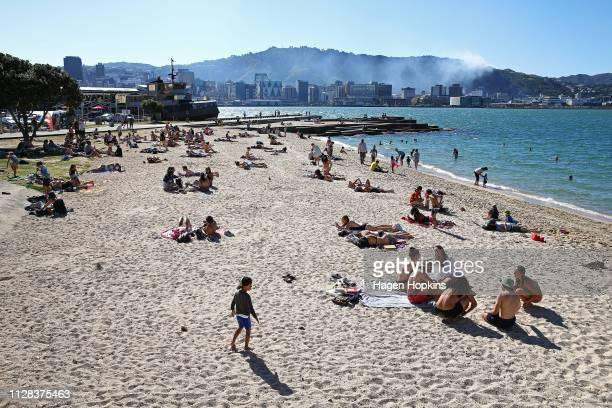Beachgoers in Oriental Bay look on as a scrub fire burns in Wadestown on February 09 2019 in Wellington New Zealand Fire and Emergency services were...