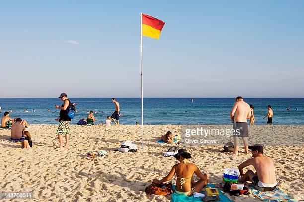 Beachgoers on Bondi Beach.