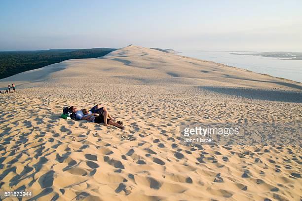 Beachgoers on Dune du Pilat on the Bassin d'Arcachon