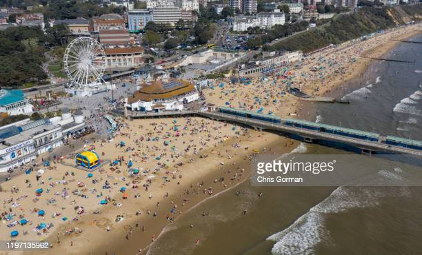 Beachgoers pack out Bournemouth Beach on a Good Friday as Britain basks in temperatures of 23C on April 19 2019 in Bournemouth United Kingdom