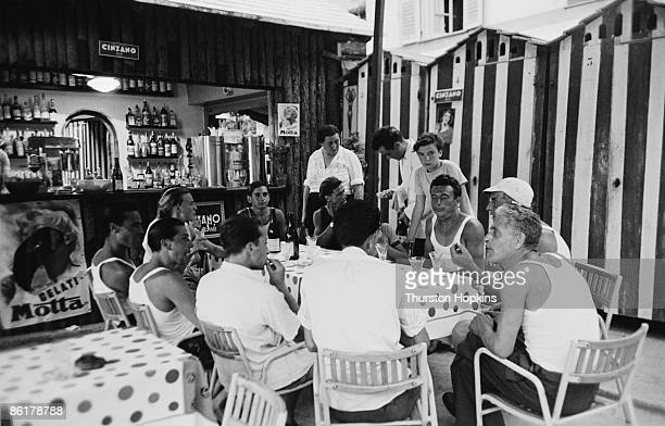 A beachside cafe on Paraggi Beach near the tourist resort of Portofino Italy August 1952 Original Publication Picture Post 6023 unpub