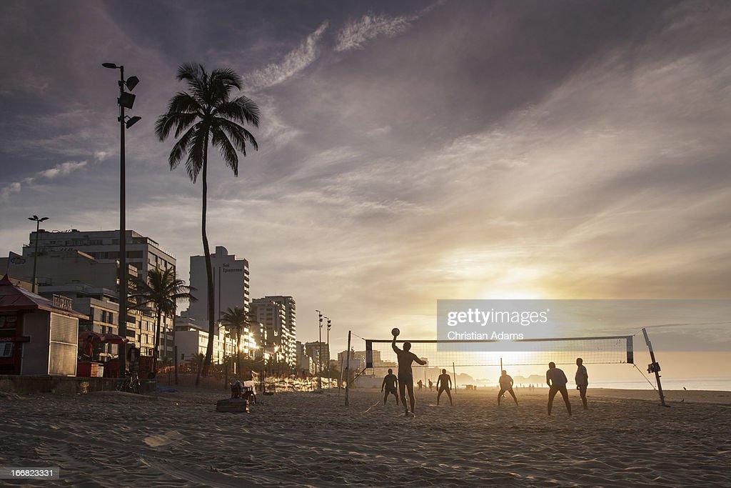 Beachvolleyball at Ipanema beach, : Stock Photo
