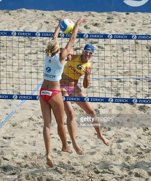 Beachvolleyball Deutsche Meisterschaften 2004 Timmendorf Finale POHL / RAU BRINKABELER / JURICH Finale Okka RAU gegen Hella JURICH 040904