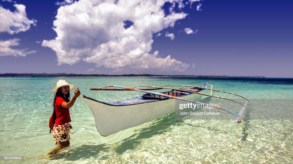 Beachwalking on Siargao Island : Stock Photo