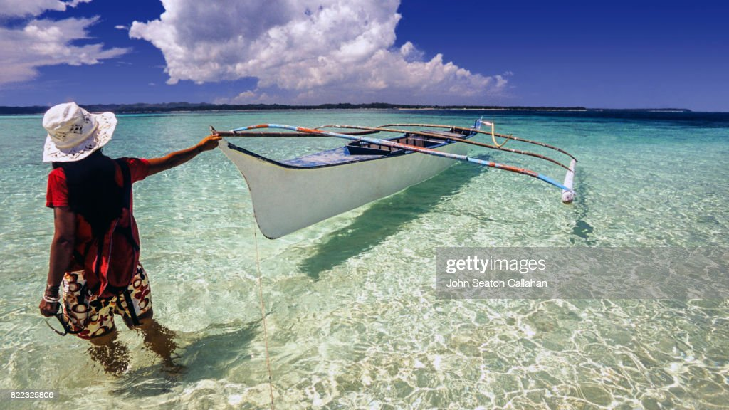Beachwalking on Siargao Island : Stock Photo
