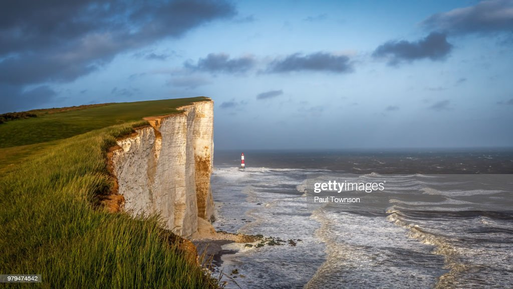 Beachy Head chalk cliff by sea, Eastbourne, England, UK : Stock Photo