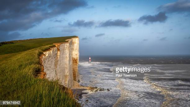 beachy head chalk cliff by sea, eastbourne, england, uk - beachy head stock photos and pictures