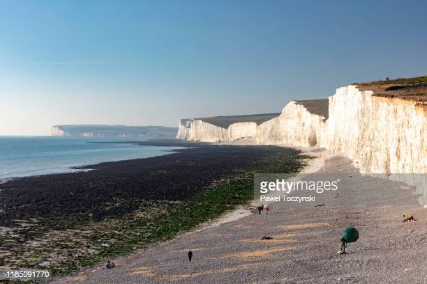 beachy head - dramatic and highest chalk cliff in britain located in east sussex, england, 2018 - {{ contactusnotification.cta }} stock pictures, royalty-free photos & images