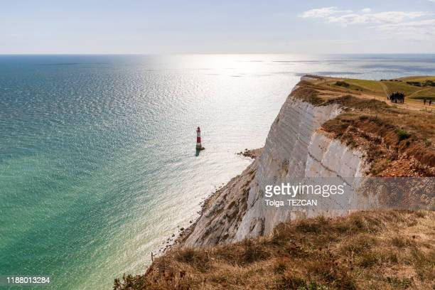 beachy head, eastbourne - lighthouse stock pictures, royalty-free photos & images
