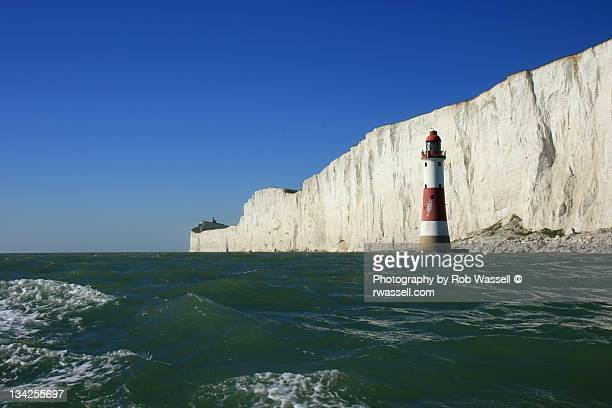 beachy head lighthouse and belle tout lighthouse - beachy head stock photos and pictures