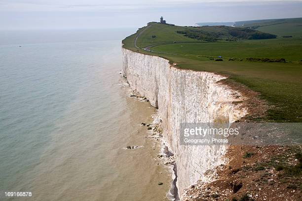Beachy Head lighthouse and chalk cliffs East Sussex view to Belle Toute lighthouse