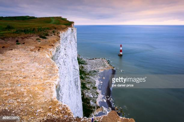 beachy head, lighthouse, eastbourne, east sussex, england - eastbourne stock pictures, royalty-free photos & images