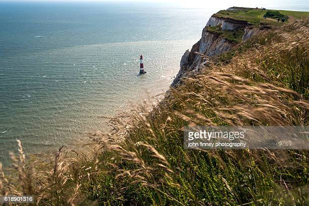 beachy head lighthouse, eastbourne east sussex. uk. - beachy head stock photos and pictures