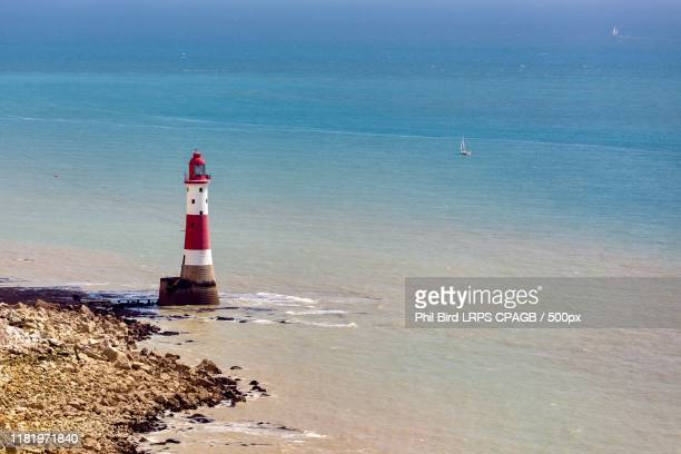 beachy head lighthouse - chalk rock stock pictures, royalty-free photos & images