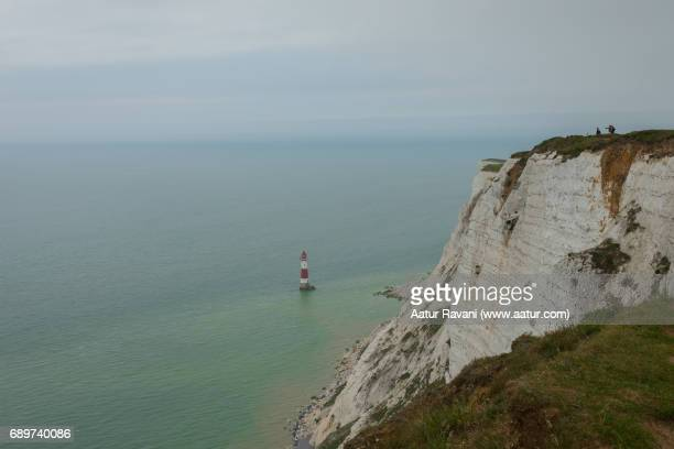 beachy head lighthouse - english channel stock photos and pictures
