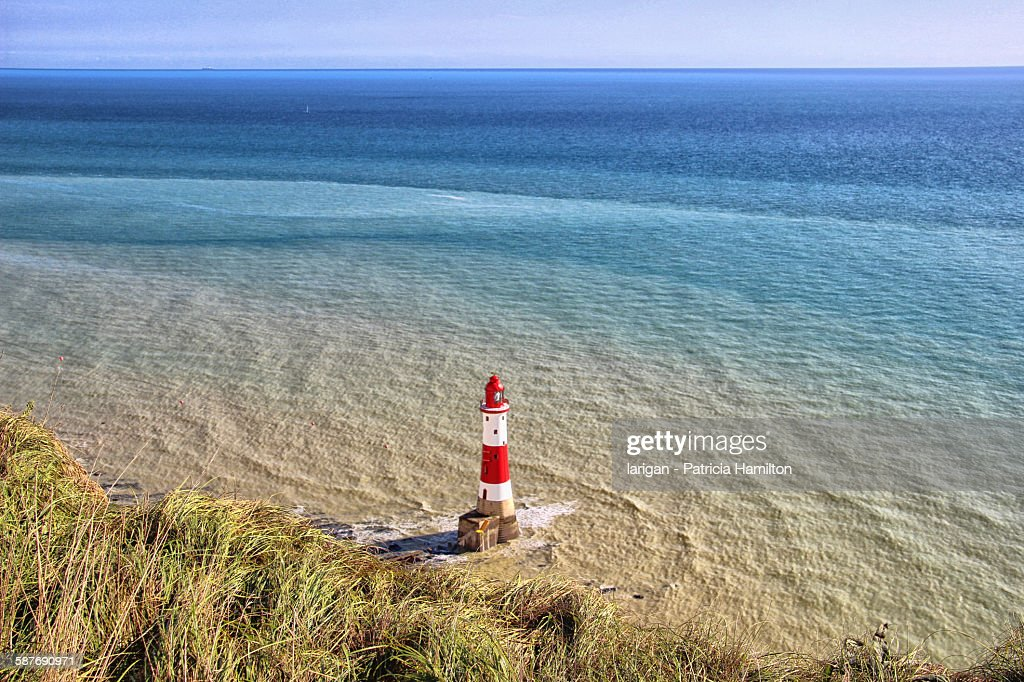 Beachy Head lighthouse, South Downs : Stock Photo