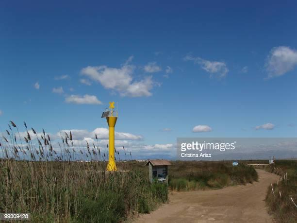 Beacon in the Garxal Ebro Delta Natural Park Tarragona Cataluna Spain may 2007