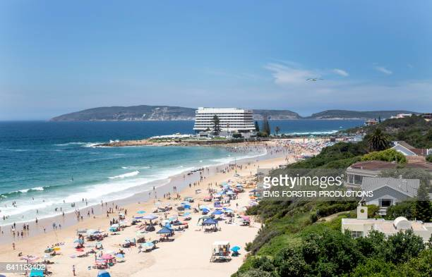 beacon island beach and beacon island resort - plettenberg bay - medium wide shot - ems forster productions stock pictures, royalty-free photos & images