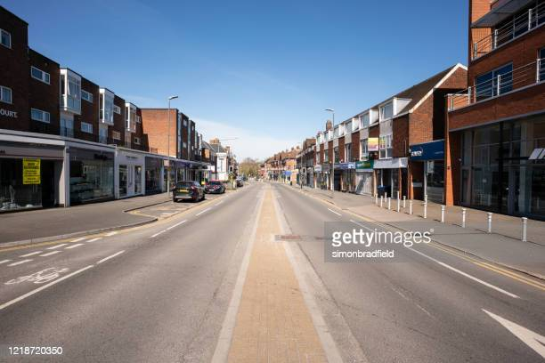 beaconsfield high street during 2020 coronavirus lockdown - empty streets stock pictures, royalty-free photos & images