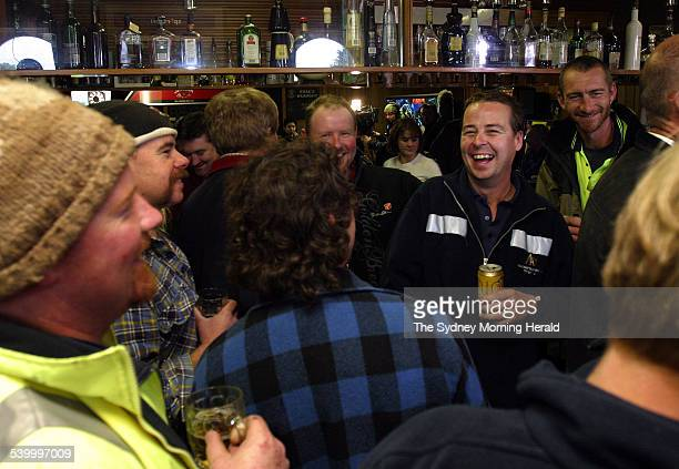 Beaconsfield Mine 2006 Miners celebrate in the local Beaconsfield Pub after their two coworkers Brant Webb and Todd Russell were rescued after being...