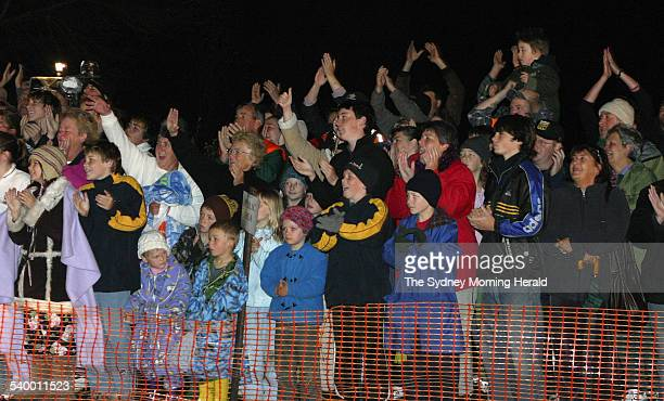Beaconsfield Mine 2006 The waiting crowd cheer as the two trapped miners Brant Webb and Todd Russell are rescued after being trapped nearly one...