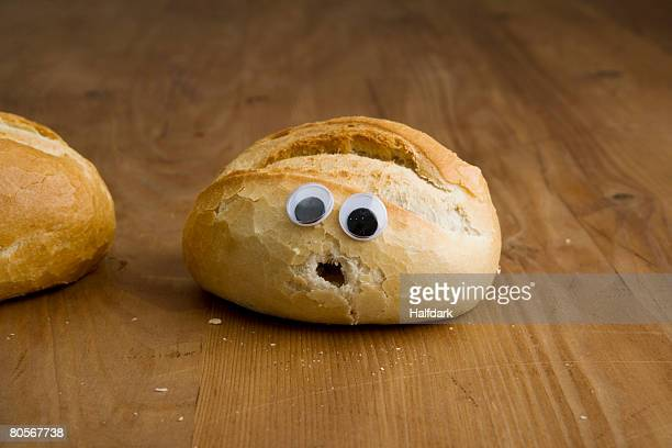 A bead bun with a shocked face