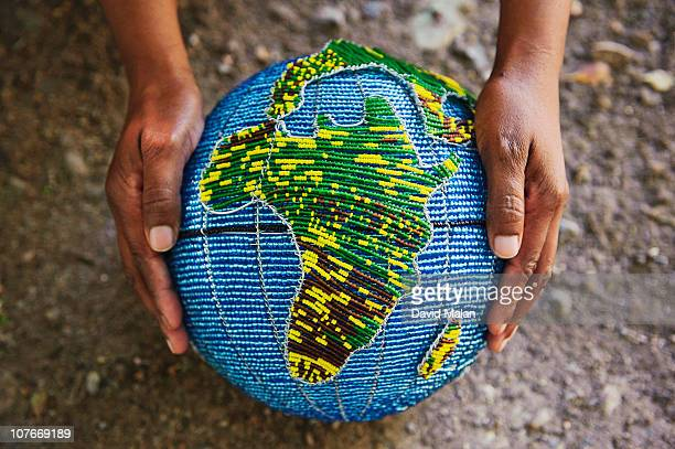 Beaded globe with africa being shown