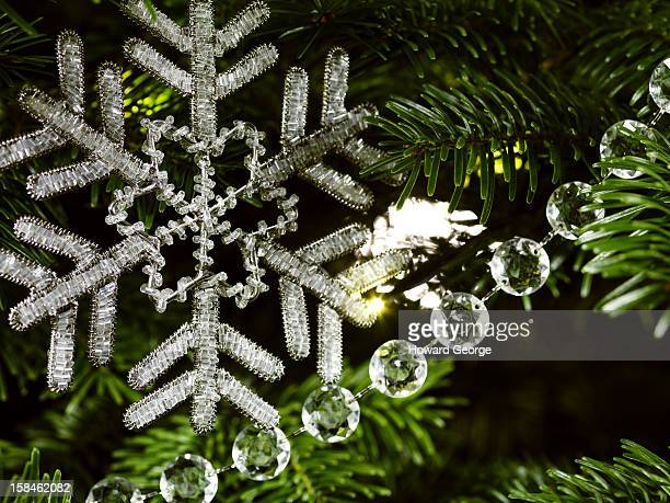Beaded snowflake decoration close up