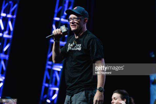 Beadle and Grimm's Co-Founder and Actor Matthew Lillard speaks on stage during ACE Comic Con on June 22, 2018 at WaMu Theatre in Seattle, Washington.