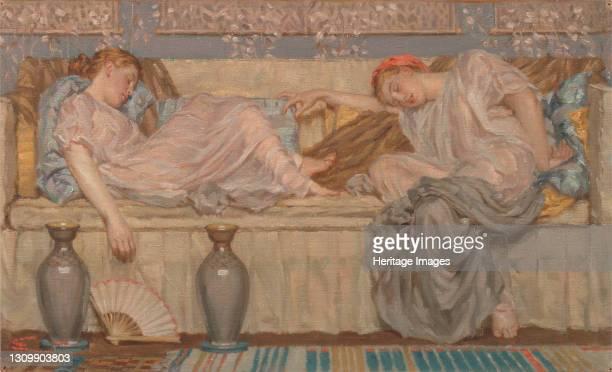 Beads ;Two Women on a Sofa ca. 1875. Artist Albert Joseph Moore. .