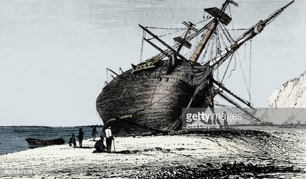 HMS 'Beagle' laid ashore Rio Santa Cruz Patagonia South America 1834 The 'Beagle' commanded by Robert Fitzroy set sail on a 5year voyage around the...
