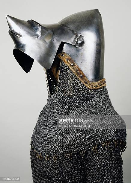 Beaked visor, open, detail from bascinet with pig faced snout and chain mail, 1350-1360, made in Milan. Italy, 14th century. Sluderno, Armeria Trapp...