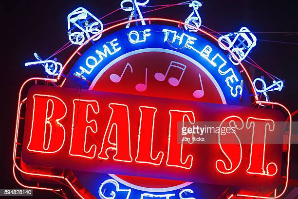 beale street historic district, memphis, tennessee. - beale street stock pictures, royalty-free photos & images
