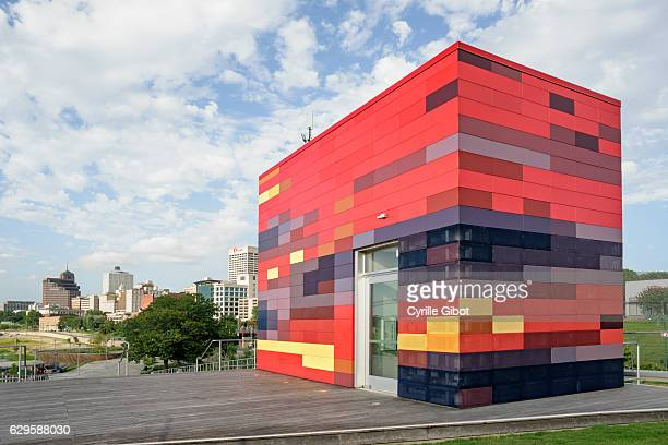 Beale Street Landing's Colorful Topper (elevator shaft), Memphis, Tennessee, USA
