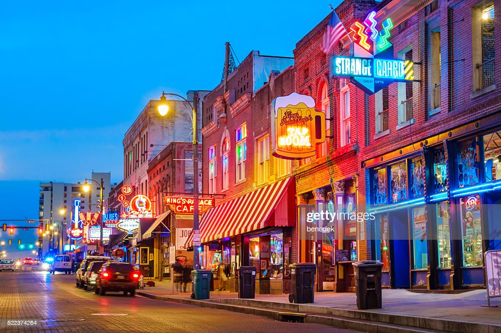 Beale Street Music District in Memphis Tennessee USA : Stock Photo