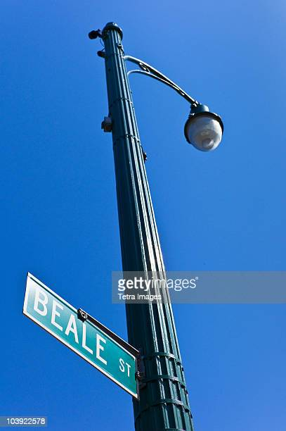 beale street sign and lamp post - beale street stock pictures, royalty-free photos & images