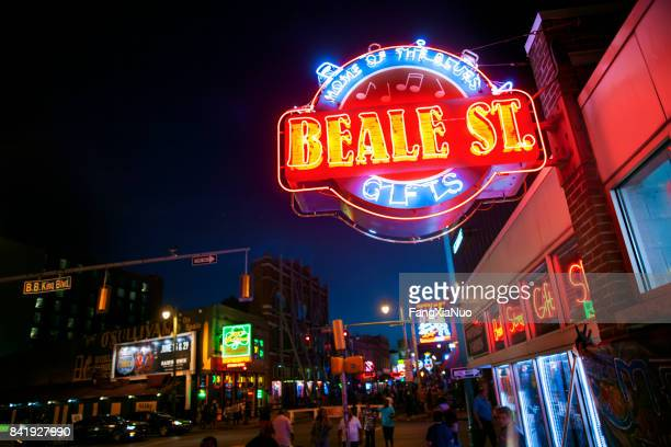 beale street sign, memphis, tn - memphis stock photos and pictures