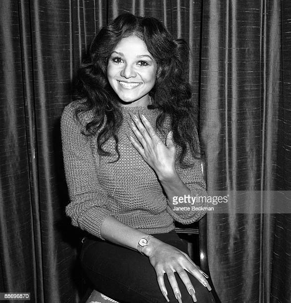 A beaming La Toya Jackson American singer and songwriter pictured while visiting London 1981