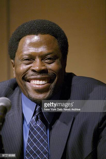 A beaming Patrick Ewing announces his retirement at a news conference at the Four Seasons Hotel ending his 17year career as one of the NBA's greatest...
