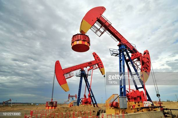 beam-pumping units are working in  the in the oil field in Xinjiang, China