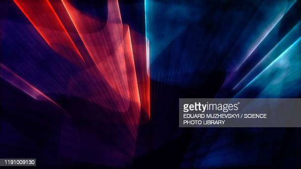 beams of coloured light, illustration - abstract foto e immagini stock