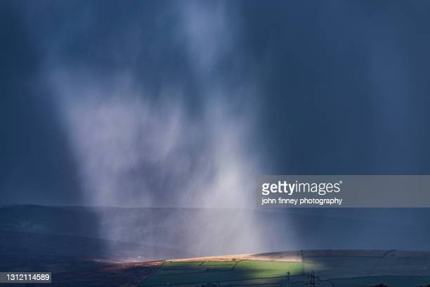 beams of light on the kinder scout estate, peak district national park. - extreme weather stock pictures, royalty-free photos & images