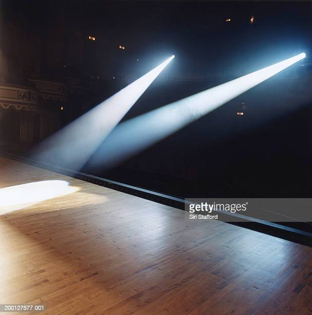Beams of spotlights shining on stage floor