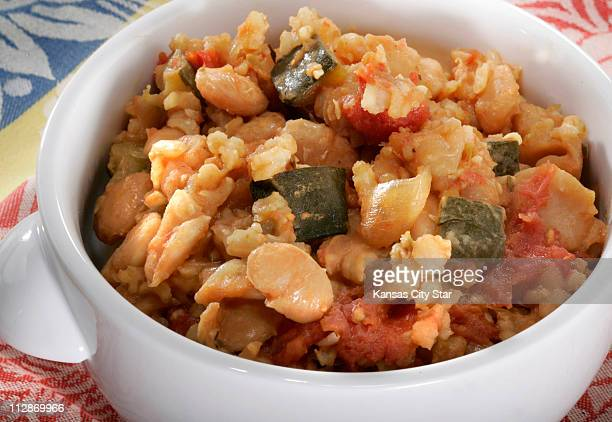 Bean and vegetable Cassoulet with brown rice takes a day to make There is no substitute for cooking beans at a low temperature for many hours to...