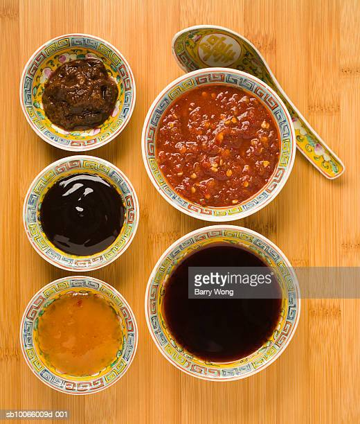 bean paste, chilli sauce, soy sauce, plum sauce and oyster sauce - soy sauce stock photos and pictures