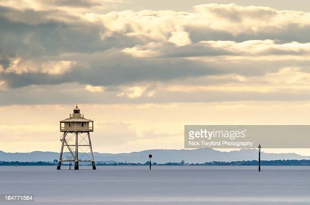bean rock lighthouse - waitemata harbor stock photos and pictures