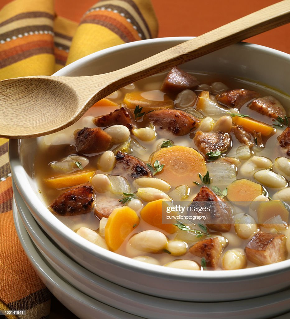 Bean Soup with Sausage : Stock Photo