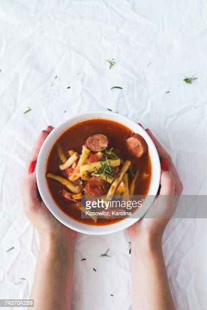 bean soup with yellow beans and sausage - savoury food stock photos and pictures