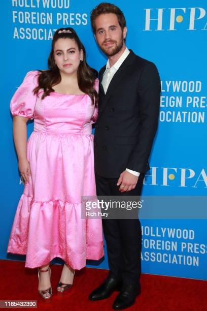 Beanie Feldstein and Ben Platt attend the Hollywood Foreign Press Association's Annual Grants Banquet at Regent Beverly Wilshire Hotel on July 31...